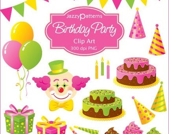Birthday Party clipart collection for card making, scrapbooking, crafts and more (CA002)
