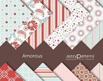 Amorous digital scrapbooking paper pack DP058 instant download