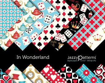 In Wonderland digital paper pack for scrapbooking DP040 instant download