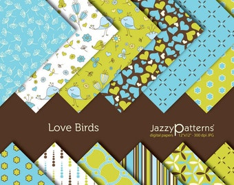 Love Birds digital paper pack DP016 instant download