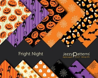Halloween digital paper pack for scrapbooking Fright Night DP012 instant download