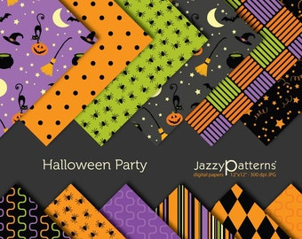 Halloween Party digital paper pack DP015 instant download
