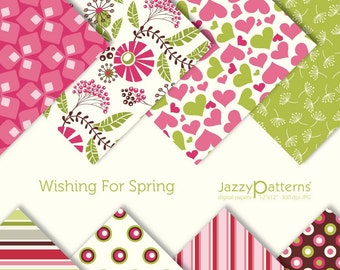 Wishing For Spring digital scrapbooking paper pack  DP039 instant download