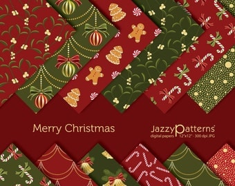 Christmas digital paper pack Merry Christmas DP004 instant download 12x12 in size and 8.5x11 inches