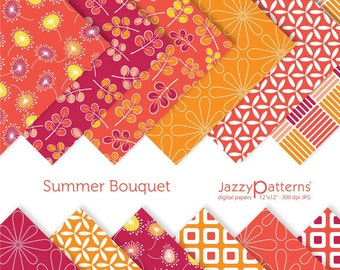 Summer Bouquet digital paper pack DP066 instant download