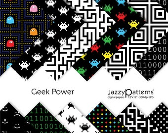 Geek Power digital paper pack for scrapbooking DP070 instant download