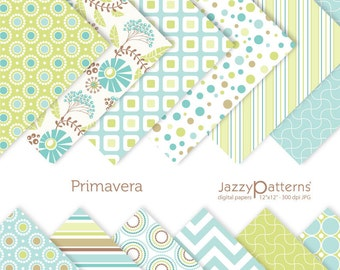 Primavera digital paper pack for scrapbooking DP072 instant download