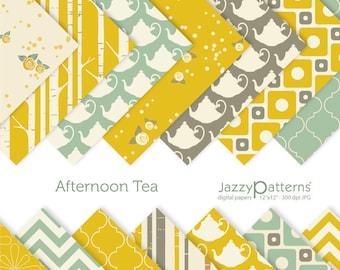 Afternoon Tea digital paper pack for scrapbooking DP074 instant download