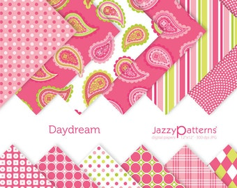 Pink and lime green paisley digital paper pack for scrapbooking Daydream DP048 instant download