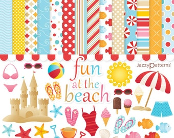 Beach clipart and digital paper pack. Summer clipart, printable papers Fun At The Beach instant download DK001