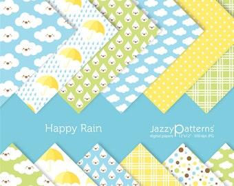 Happy Rain digital paper pack kawaii DP060 instant download