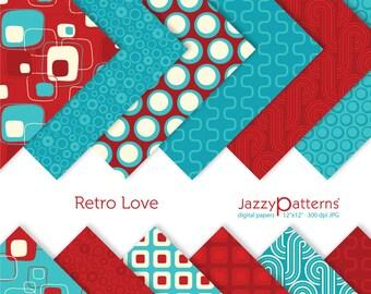 Retro Love digital paper  pack DP018 instant download