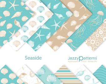 Seaside digital  paper pack for scrapbooking DP076 instant download