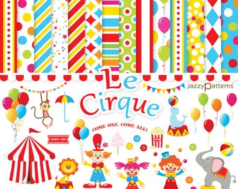Circus clipart and digital papers pack  DK005 instant download