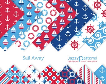 Nautical digital papers pack for scrapbooking Sail Away DP078 instant download