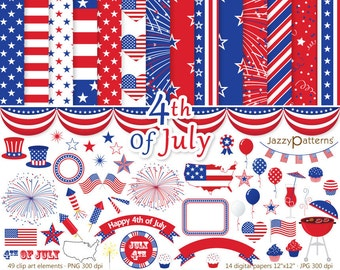 4th Of July clipart and digital scrapbooking paper pack collection DK006 instant download