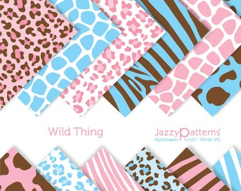 Animal prints digital paper pack Wild Thing DP079 instant download