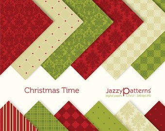 Christmas digital papers Christmas Time  DP026 instant download