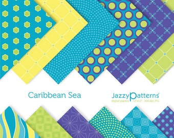 Caribbean Sea digital paper pack DP031 instant download