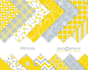 Yellow grey digital paper pack for scrapbooking Mimosa DP084 instant download