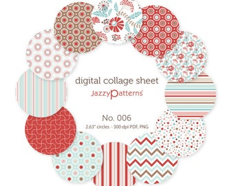 Digital collage sheet 2.25 inch circles for pocket mirrors, button badges  No.006 instant download
