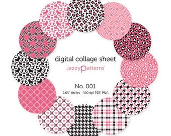 Digital collage sheet circle images for 2.25 inch pocket mirrors, button badges PDF download No.001 instant download
