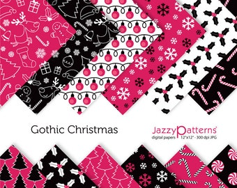 Gothic Christmas digital paper pack DP090 instant download
