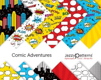 Comic book digital papers in red, blue and yellow. Superhero digital papers for superhero party decorations and invitations. DP096
