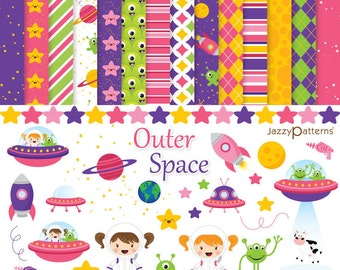 Girly Outer Space clipart  digital paper pack DK016 instant download