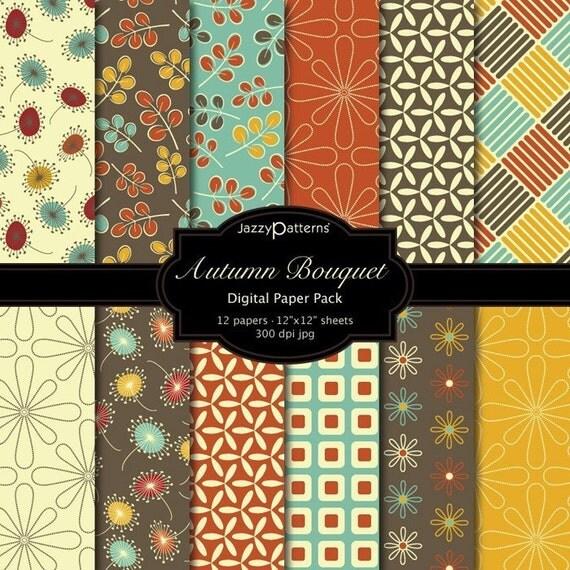 Autumn Bouquet Digital Papers Set of 12 (DP009)