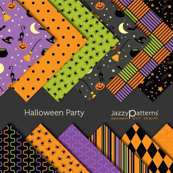 Halloween Party digital scrapbooking paper pack DP015 instant download