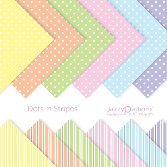 Dots n Stripes digital paper pack for scrapbooking DP056 instant download