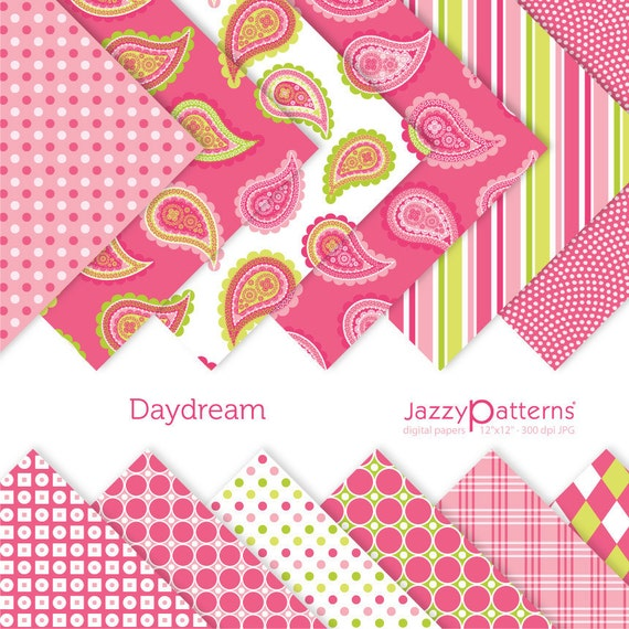 Daydream paisley digital paper pack for scrapbooking DP048 instant download