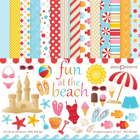 Beach clipart and digital paper pack Fun At The Beach instant download DK001