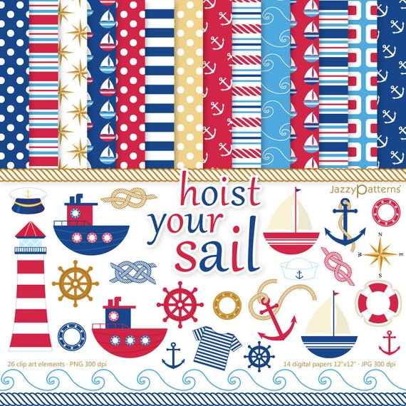 Nautical clipart and digital papers scrapbook pack Hoist Your Sail instant download DK002