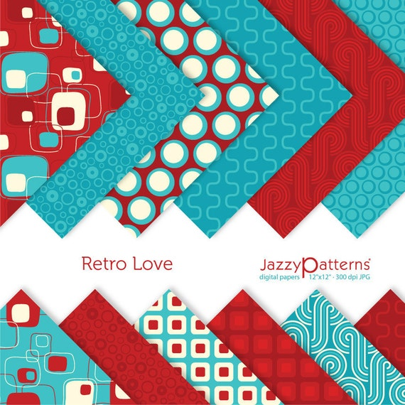 Retro Love digital scrapbooking paper  pack DP018 instant download