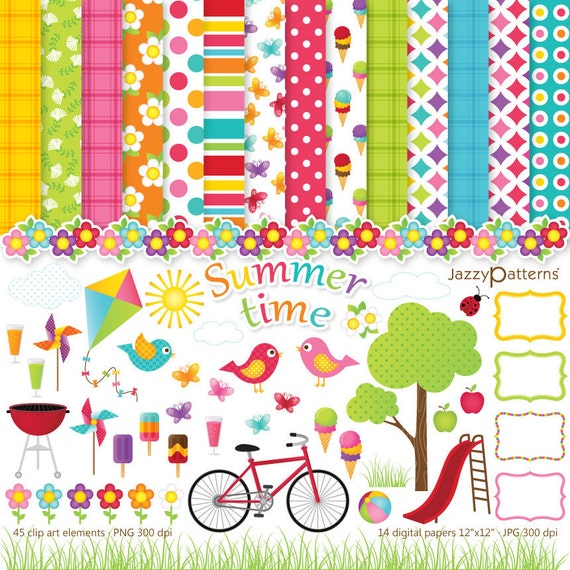 Summer clip art and digital paper pack Summertime DK008 instant download