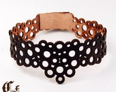 encircled...laser cut leather choker