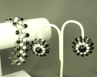 Hattie Carnegie Black and White Bead Bracelet and Earrings