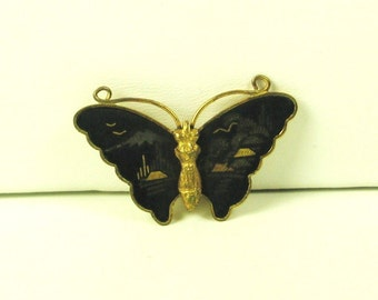 Vintage Black Glass Butterfly Pin and Pendant