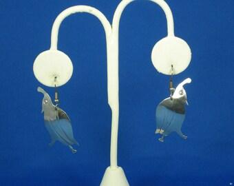 Vintage 925 Sterling Partridge Bird Hook Earrings