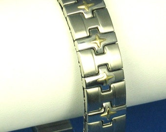 Milor Italy Stainless Steel and 18kt Gold Bracelet