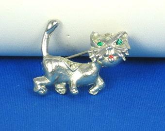 Vintage Silver Fancy Feline Pin