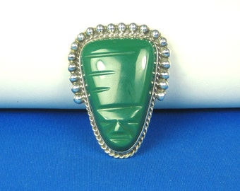 Sterling Silver Diaz Santoyo Mexico Simulated Jade Brooch