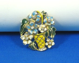 Rare Signed Deja Enamel Flower Basket Pin