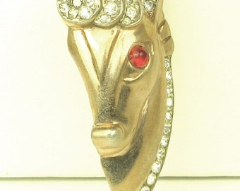 Vintage Gold Plated 925 Sterling Metal Horse Pin