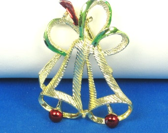 Vintage Gerry's Red and Green Enamel Christmas Bells Pin