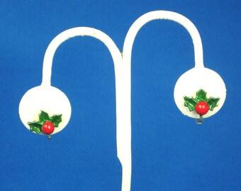 Vintage Christmas Green Enamel Holly Leaf Earrings