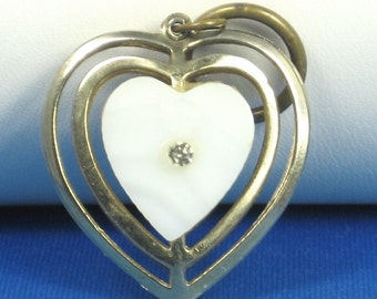 Vintage Mother of Pearl and Rhinestone Heart Pendant