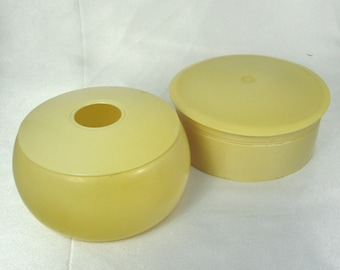 Vintage French Ivory Celluloid Powder Dishes